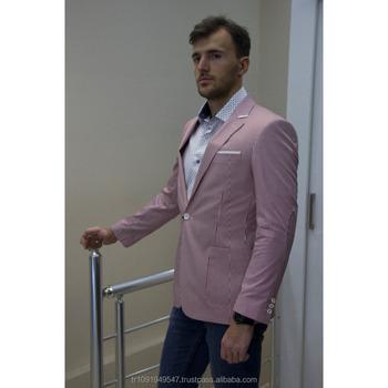 548dcf284a773 Hombre Casual de moda de los hombres chaqueta Blazer rosa y blanco de  estilo italiano