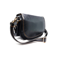 Vegan Leather Black Camera Handbag With Magnetic Flap