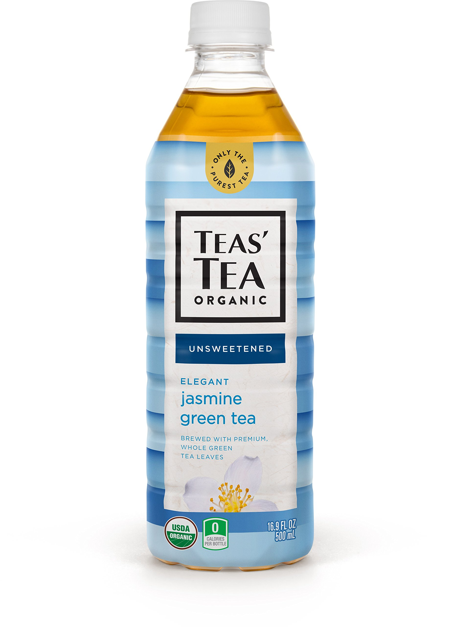 Teas' Tea Unsweetened Jasmine Green Tea, 16.9 Ounce (Pack of 12), Organic, Zero Calories, No Sugars, No Artificial Sweeteners, Antioxidant Rich, High in Vitamin C