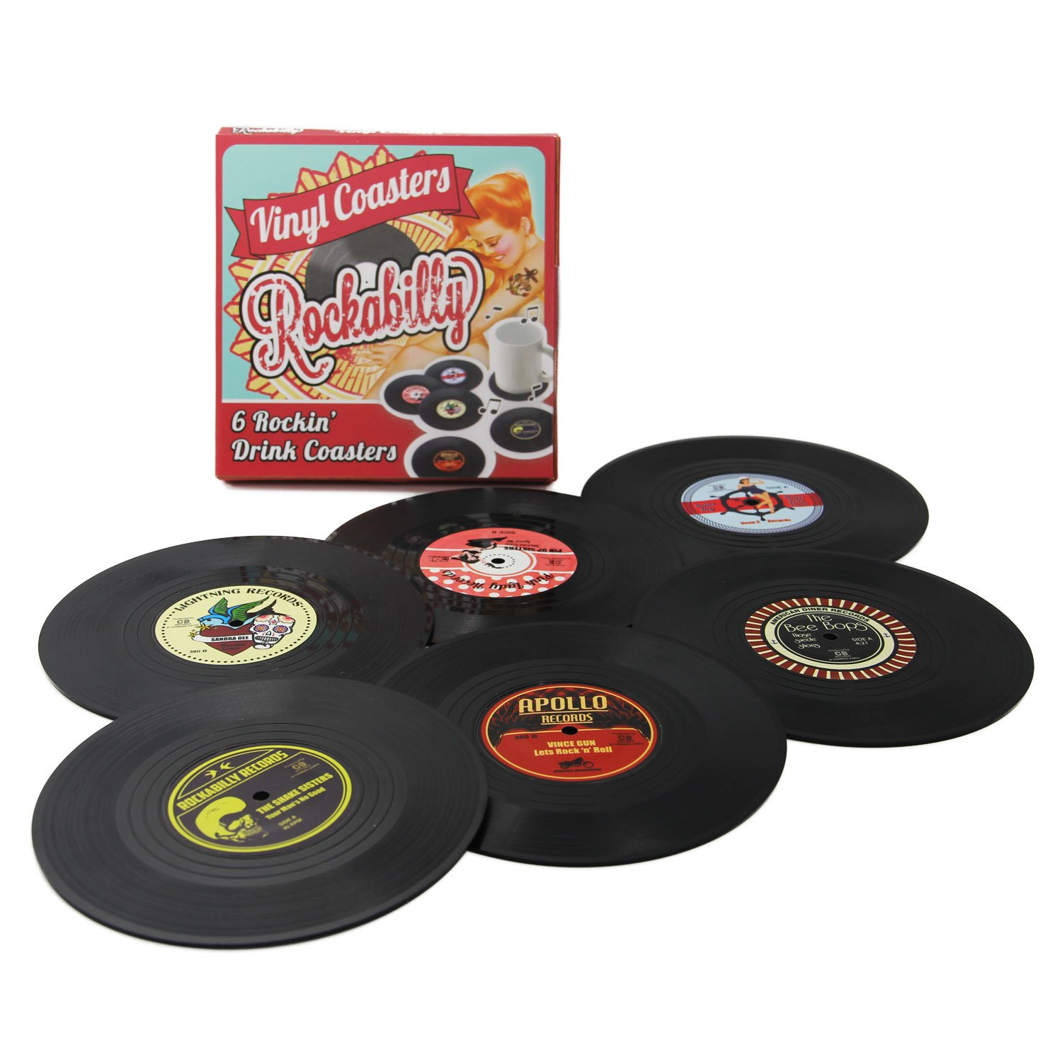 Coasters Set of 6 Colorful Retro Vinyl Record Disk Coaster for Drinks with Funny Labels - Desktop Protection Prevents Furniture Damage - Tabletop Drink Coasters