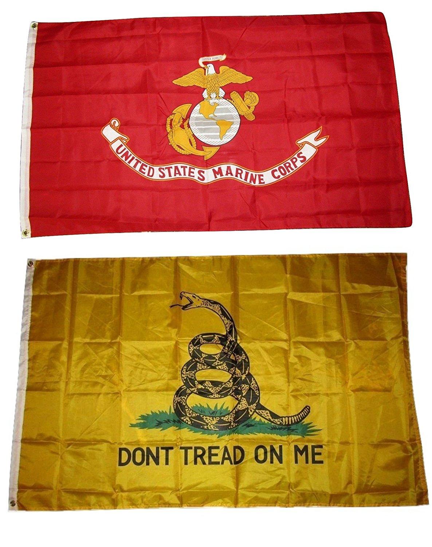 3x5 3'x5' Wholesale Combo EGA USMC Marines & Gadsden Don't Tread 2 Flags Flag Banner Brass Grommets House Banner Brass Grommets Fade Resistant Double Stitched Premium Quality