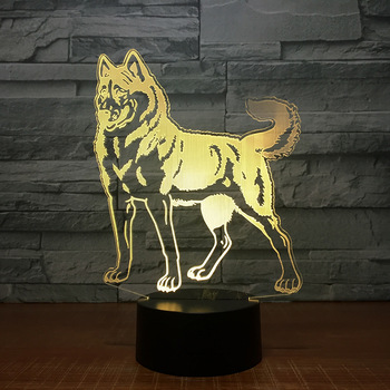 d36570e290 Creativo 3D perro Lobo noche Luz de escritorio de la tabla de la ilusión  óptica lámparas