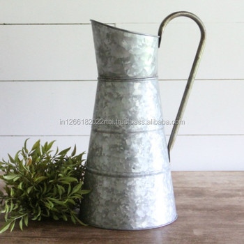 Galvanized Water Jug Decorative Antique Watering Can