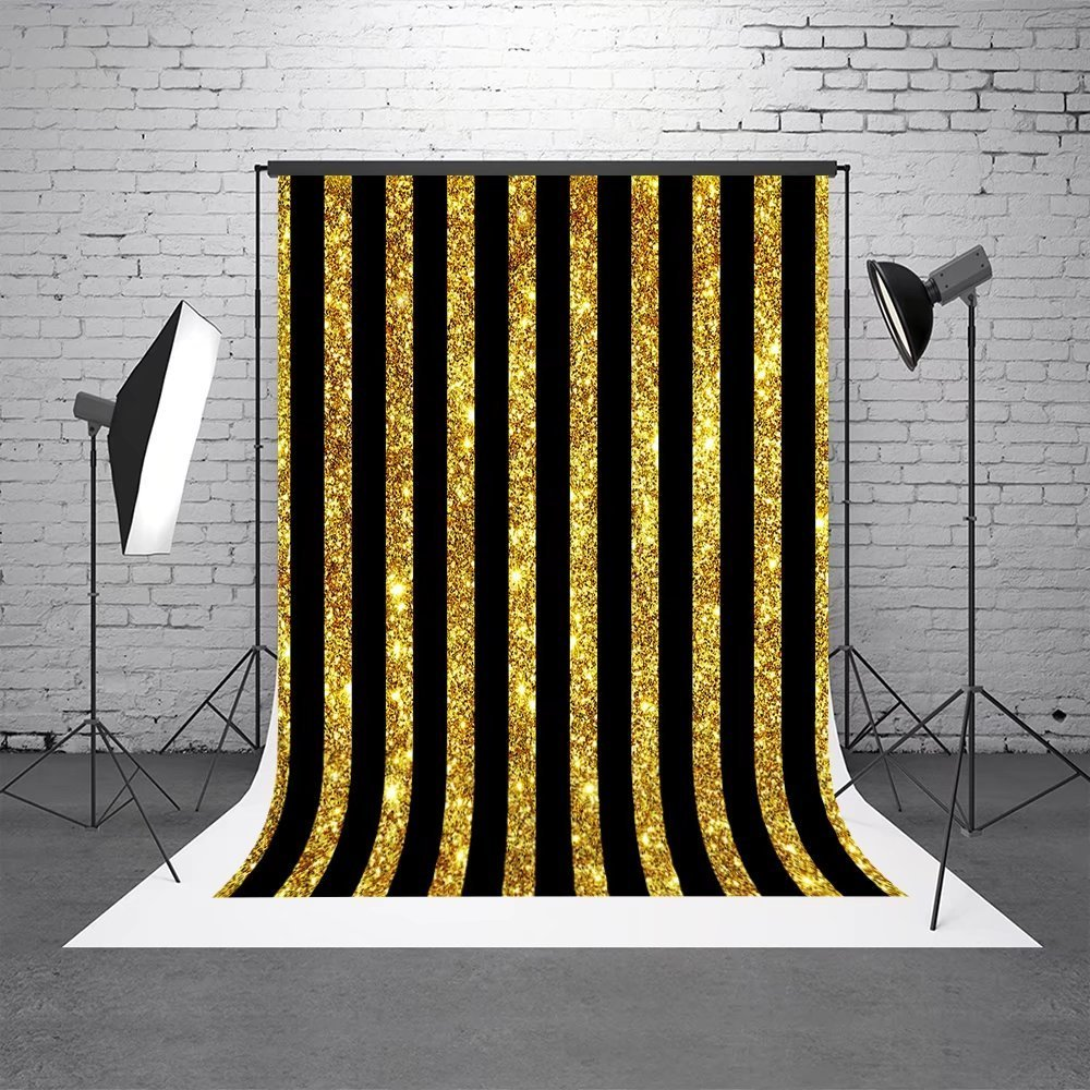 5x7ft (1.5x2.2m)Gold with Black Stripe Background Wedding Party Backdrops Photography for Studio Backdrop