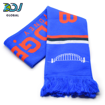 Custom Knitted Fan Supporter Football Logo Scarves - For Footy - Soccer & All Sports. Low MOQ. Guaranteed Best Scarf Price.