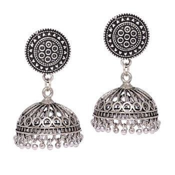 19af319cc Traditional Look Oxidised Silver Silver Jhumki Earrings Jewellery ...