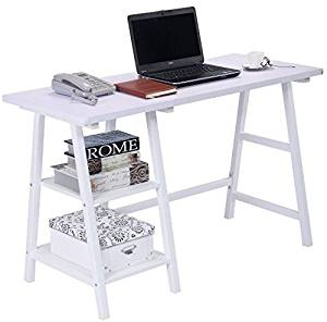 K&A Company Writing Computer Desk Table Student Storage Shelves Kids Room New Furniture Dorm Laptop Wood Corner Drawer Office Shelf Work Unit Writing Study Desk White