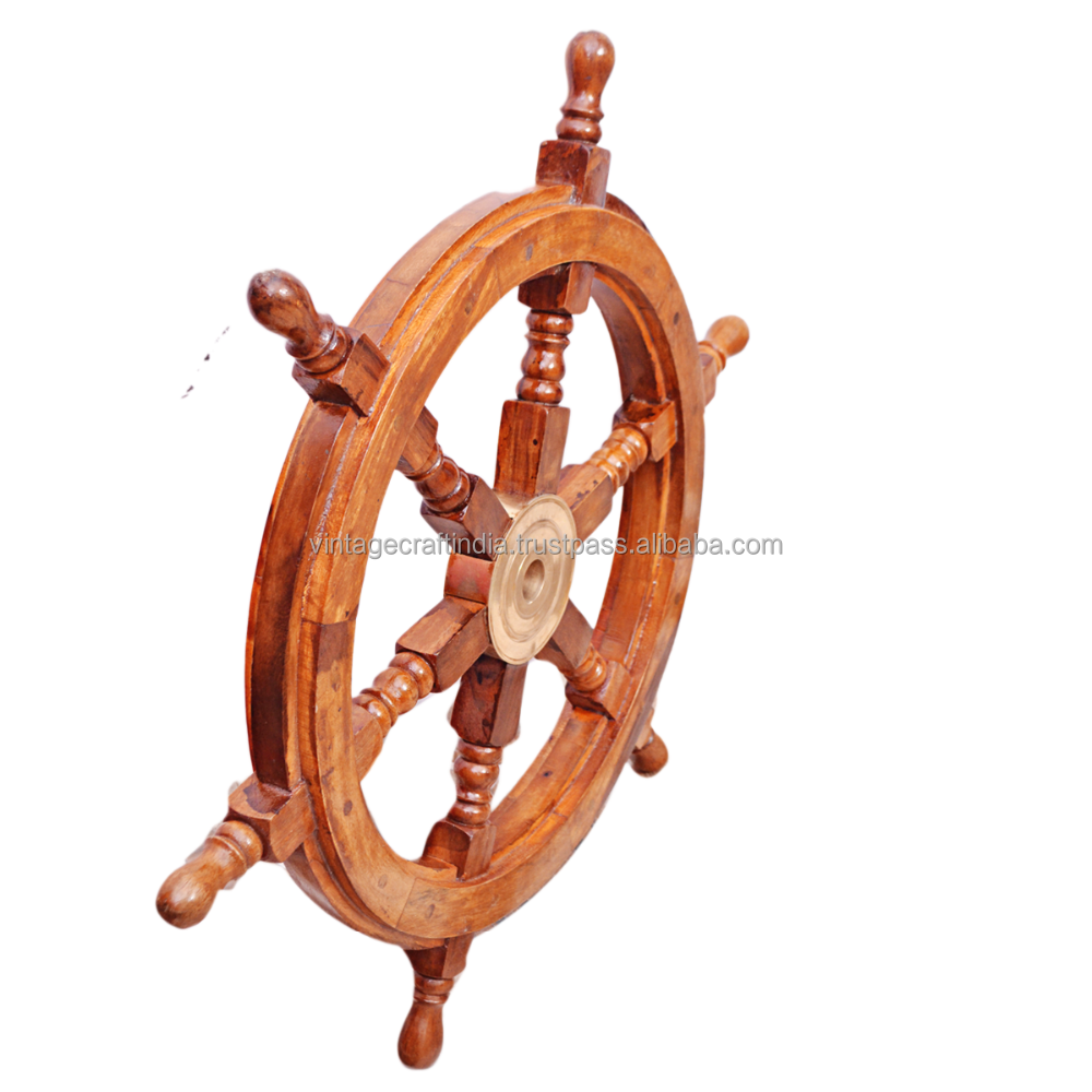 33 x 33cm Nautical Wooden Ships Wheel Mirror Decorative Seaside Home Chic Decor