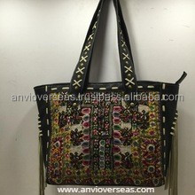 Indian Vintage Designer Canvas Fashion Embroidery Leather Shopping Tote Hand bag