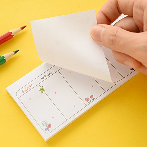 30 Sheets/Set Cute Weekly Plan Sticky Notes- Page Flag Markers Bookmarks - Post-it Self-Adhesive Note - Office Memo Note - Stone Memo Pad Gifts School Supplies ( Random Style )
