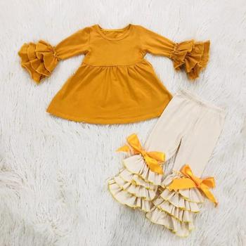 Latest Design Kids Children Cotton Clothing Sets baby Girls Boutique Autumn Winter Clothes
