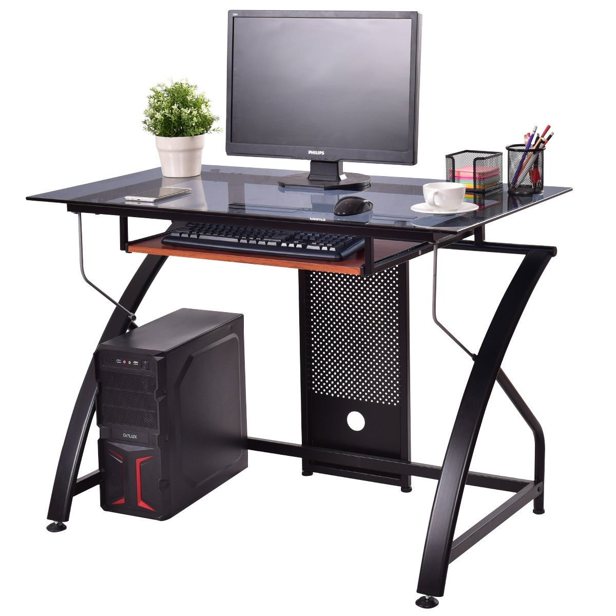TANGKULA Computer Desk Writing Table Simple Home Office Computer Workstation with Pull-out Keyboard Tray, Tempered Glass Top & Iron Frame Student Writing Desk Home Furniture (Black With Keyboard Tray)