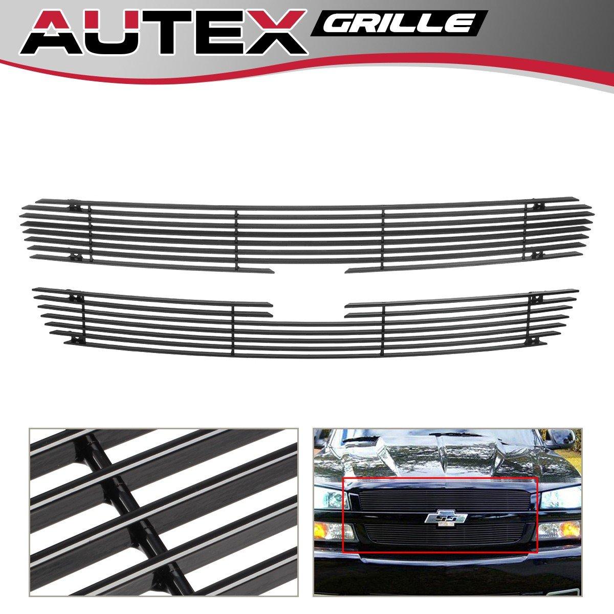 AUTEX C65717H Black Horizontal Upper Billet Grille Insert for 2003-2005 Chevy Silverado 1500/1500 SS/1500 HD, 2003-2004 Chevy Silverado 2500/3500/2500 HD, 2002-2006 Chevy Avalanche 1500/2500 Grill