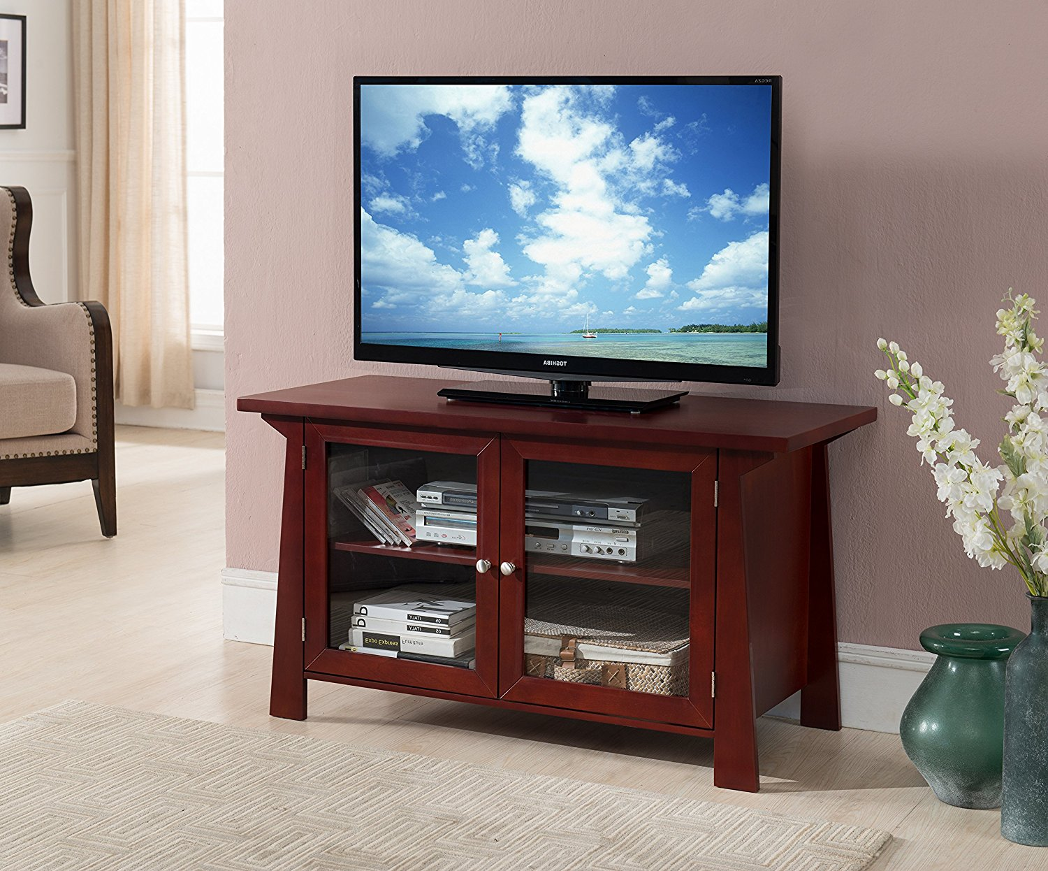 "Pilaster Designs 42"" Cherry Wood Entertainment Center TV Console Stand With Glass Cabinet Doors & Storage Shelves"