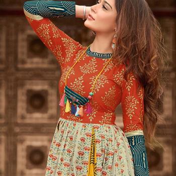 6cf3bd6ac8 Fashion Wear Long Cotton Kurti - Designer Kurtis - Festive Wear/Party Wear Indian  Kurtis