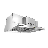 wall-mounted exhaust hood fitted with electrostatic precipitator for smokeless commercial kitchen