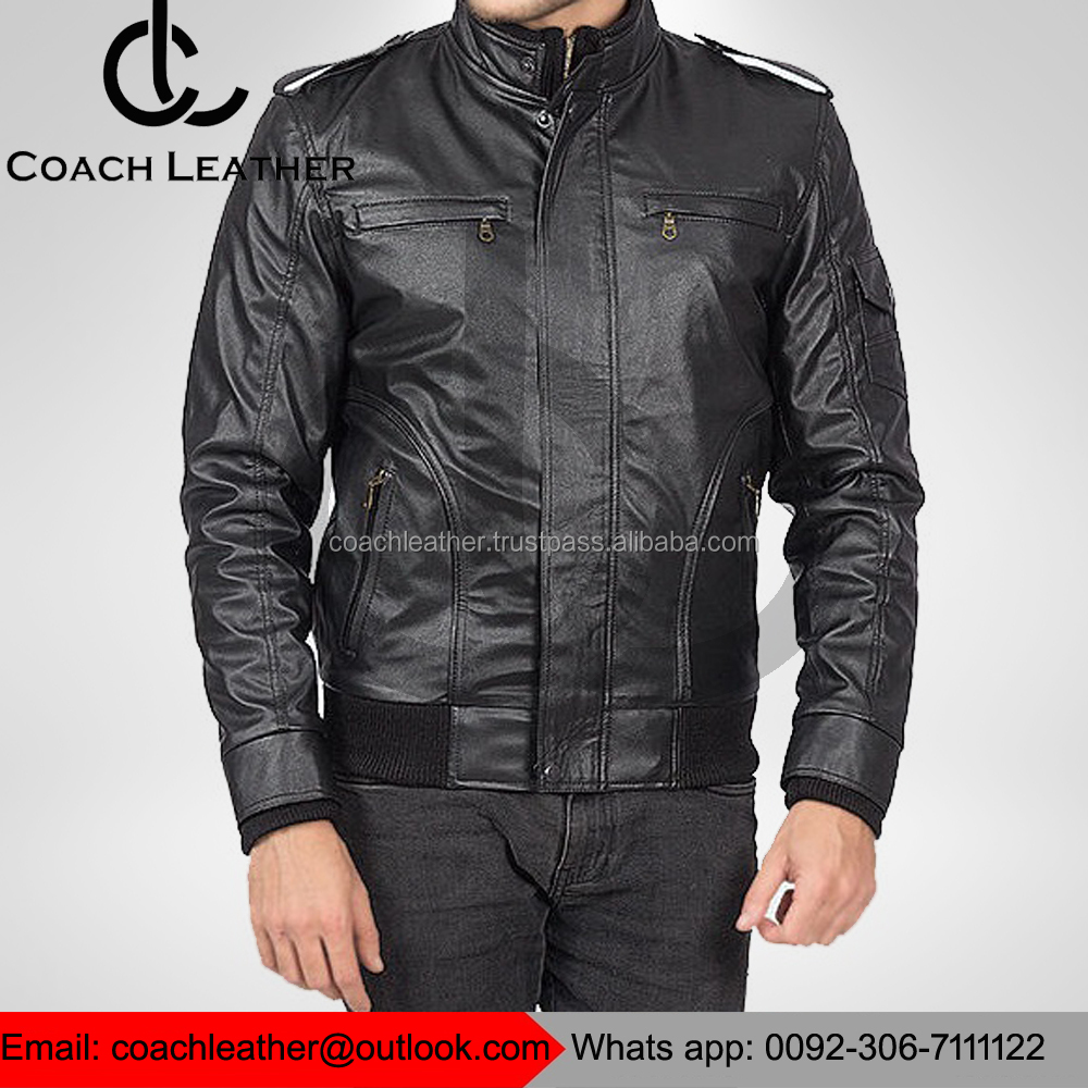 Most Popular Fashion Brands Real Lamb Black Leather Jacket For Mens