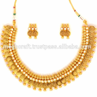 Designer Laxmi Coin Temple Plated Gold Jewellery -One Gram South Indian Jewelry Set