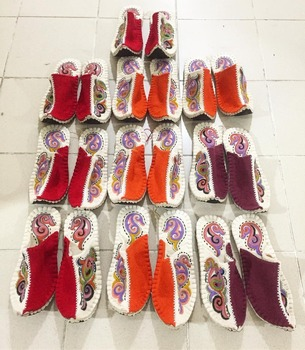 100% wool felt high luxury quality handmade eco friendly slippers
