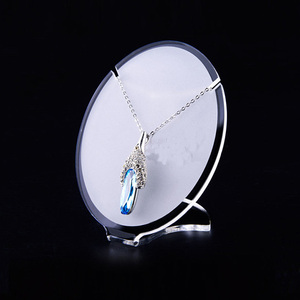 Matte Acrylic Jewelry Necklace Pendant Display Stand Holder Shop Window Showcase Round Acrylic