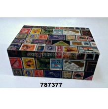 Wooden Box Painted Collectible Stamps