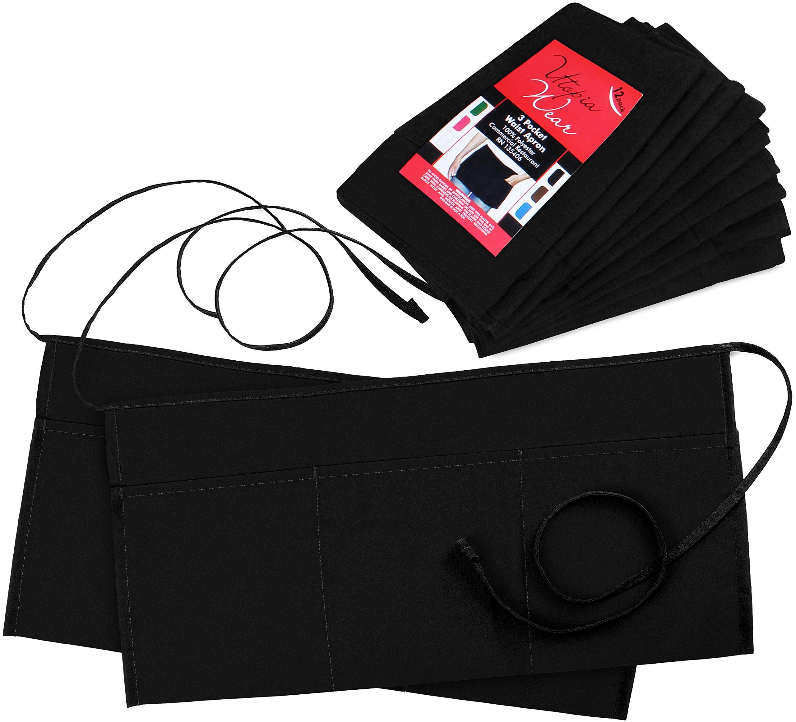 Utopia Wear 3 Pockets Waist Apron (Set of 12, Black, 24 x 12 inches) - Restaurant Half Aprons, Bartender Apron, Money Apron, Check Holder