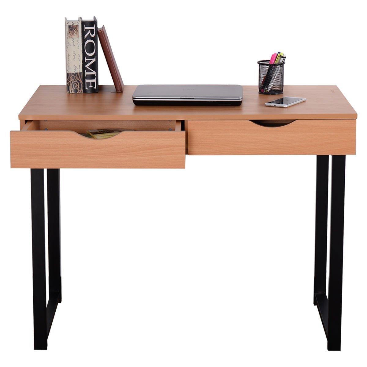 New Wood 2 Drawers Workstation Table Steel Frame Home Office Modern Computer Desk