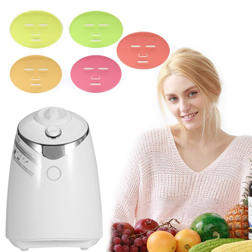 Face Mask Machine, Voice Broadcasting Full Automation DIY Natural Fruit Vegetable Facial Care Mask Maker Machine With FDA-certified (Mask Machine with Collagen)