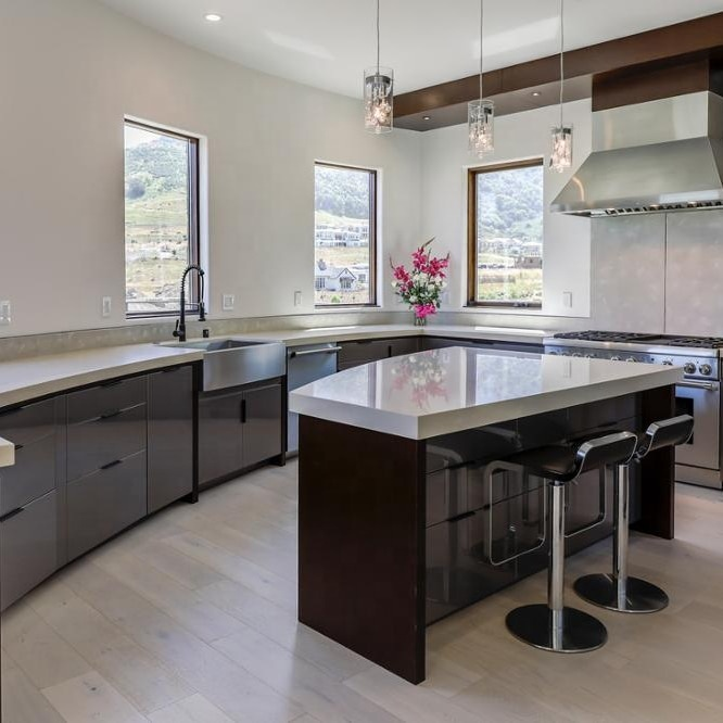 USA Lacquer curved kitchen with island <strong>design</strong> ideas