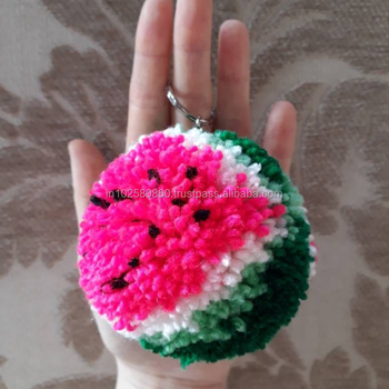 "1d9ee32aba129e Giant Watermelon Pom Pom Keychain 3"" - Hanging bag accessories -  Watermelon lover"