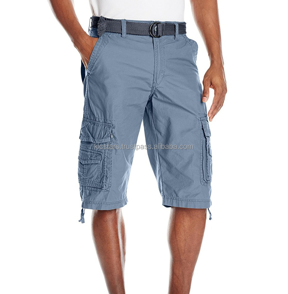 2018 Export Cotton Blue Gray Six Pockets Bermuda Cargo Shorts For Men / Women