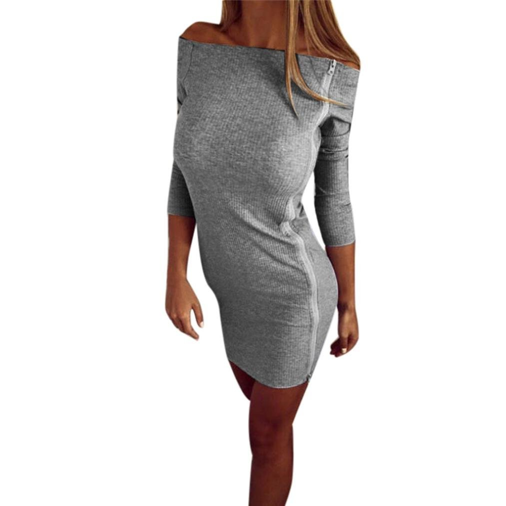 ef94945621 Get Quotations · Off Shoulder Dress,Hemlock Women's Party Dress Skirts Lady  Dress (S, Grey)