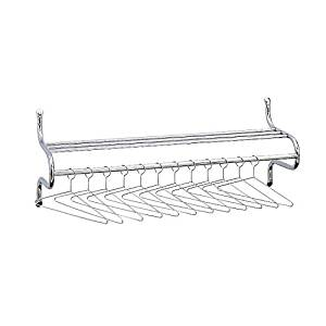 """Safco 48"""" Wide Coat Rack W/Shelf Dimensions: 49""""W X 14""""D X 19""""H Chrome Finish Includes 12 Non-RemovableHangers Includes Mounting Hardwear - Chrome"""