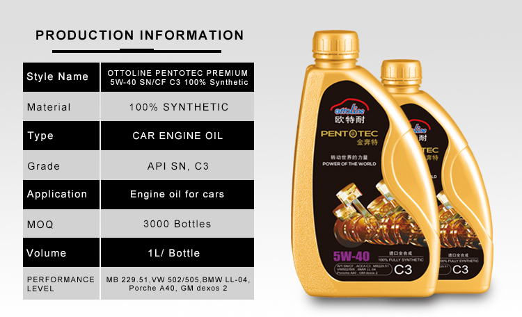 5W40 SN/CF C3 Fully Synthetic Car Engine motor oil