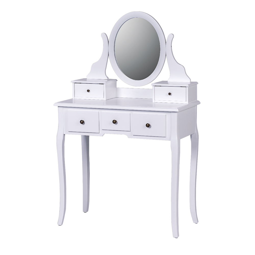 Low Price Cheap Contemporary Modern Bedroom Furniture White Small Wood Corner Mirrored Makeup Vanity Dresser With Mirror