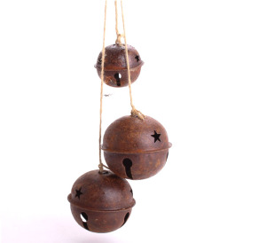 50mm Eco-Life Vintage (Rusted Sleigh) Rusty Jingle Bell with Star Cutouts