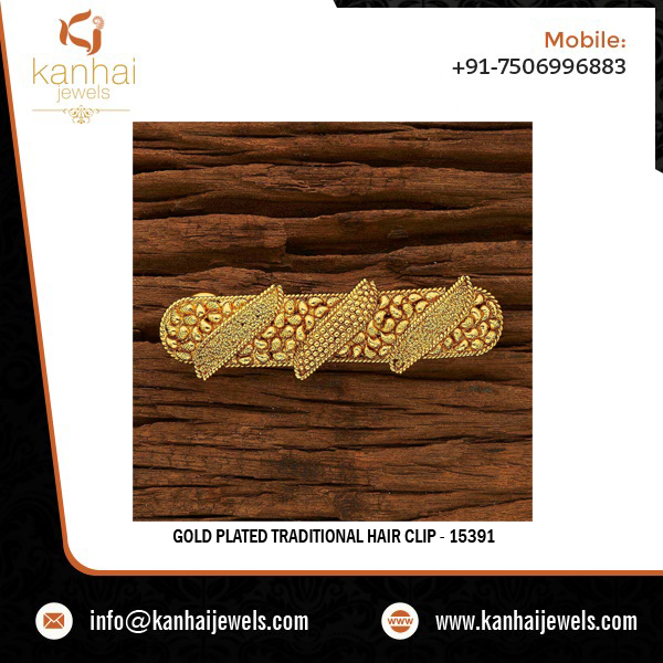 Gold Plated Traditional Hair Clip - 15391