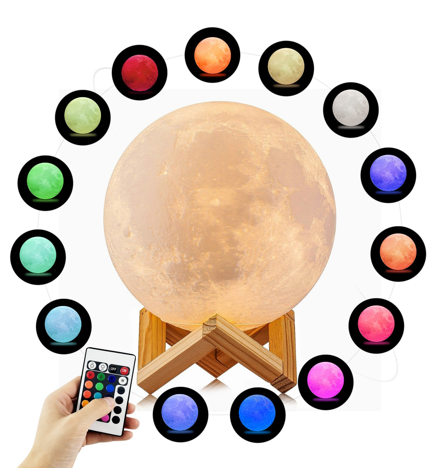 3D Printed Moon Lamp Lighting Night Light,Elstey Remote Control 16 Colors Change Optical USB Charging Wooden Base with Touch and Remote MoonLight Valentine's Decoration(5.9in/15cm)