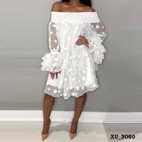 Wholesale ladies off the shoulder white crochet lace summer cocktail dress with polka dots
