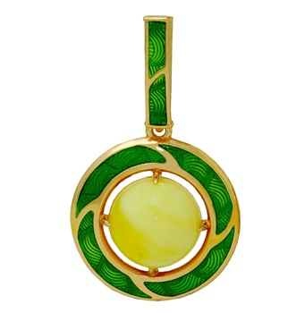 Luxury silver pendant with enamel and natural amber
