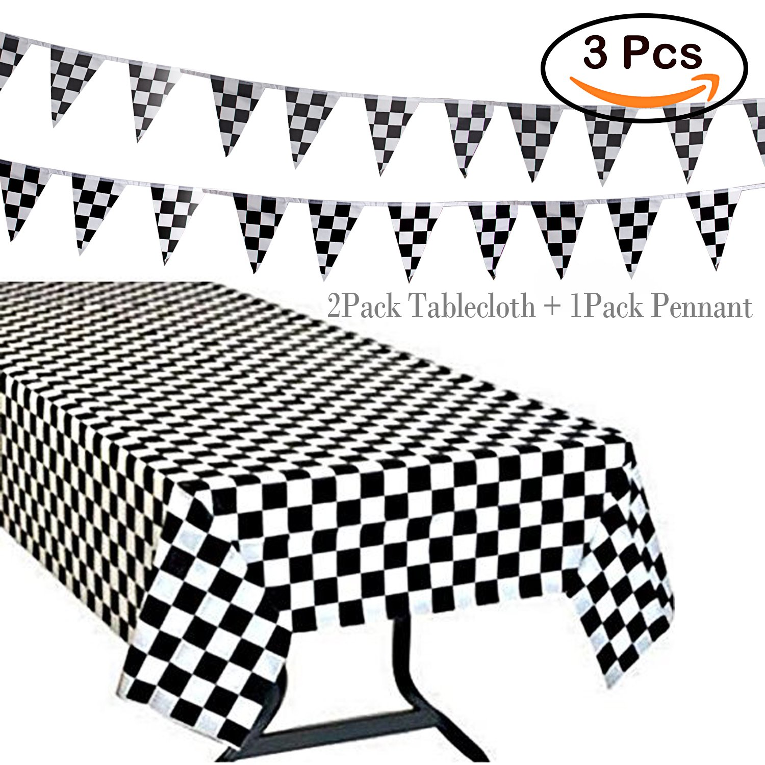 Get Quotations R Horse 3pack Plastic Banquet Disposable Black White Checkered Tablecover Party Favor 2
