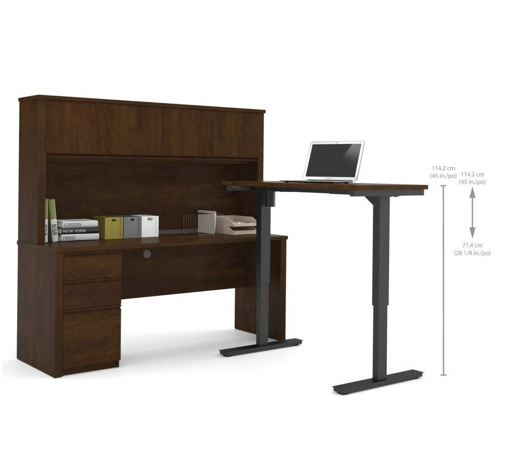 "Bestar Sit Stand Desk Overall: 71.1"" X 70.9"" X 66.9"" Credenza : 71.1"" X 22.4"" X 30.4"" Height Adjustable Table : 47.6"" X 24"" X 28"" - 45"" - Chocolate"