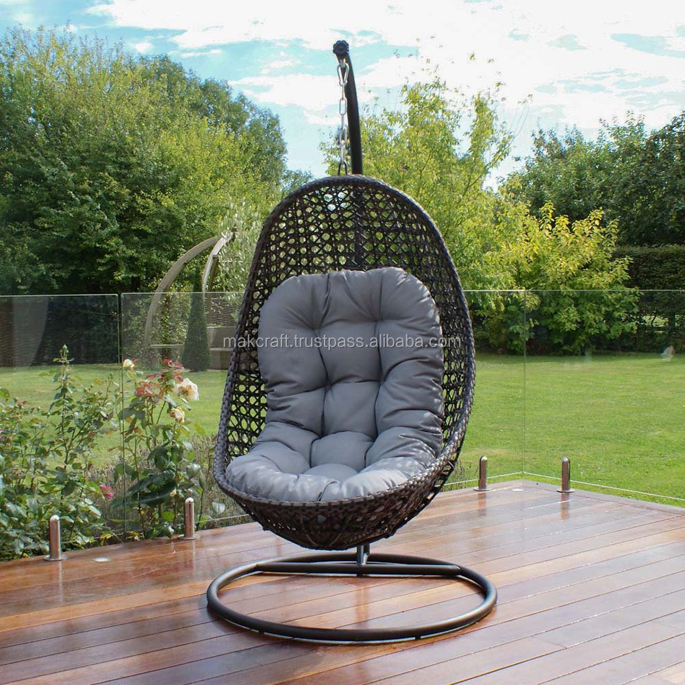 Steel Frame Power Coated Synthetic Rattan Wicker Patio Hanging Chair