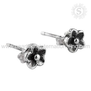 Tiny studs plain silver earrings indian silver jewelry 925 sterling silver earrings manufacturer