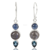 Genuine Kyanite, Labradorite And Swiss Blue Topaz Gemstone 925 Sterling Sliver Dangle Earring