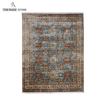 In Stock Indian Rugs Hand Knotted 100 Wool Blue Cream 8x10 Traditional And Carpets For Home Q 238 Woven India Rug Area