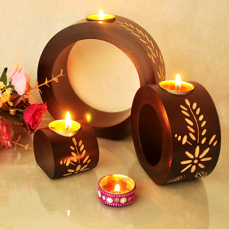 Handmade Candle Stand Designs : Wooden candle holder tea light holder buy wood carved