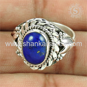 Wedding high fashion blue lapis gemstone finger ring 925 sterling silver jewelry supplier wholesale