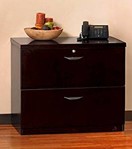 "Mayline Mira Two Drawer Lateral File Dimensions: 34 5/8""W X 24""D X 29 3/8""H Security Lock Included - Espresso"