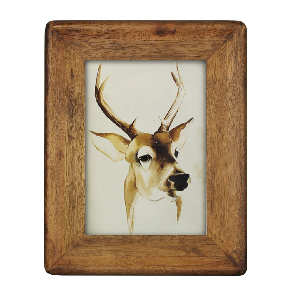 icheesday Picture Frame 5x7,Rustic Solid Wood Handmade Picture Frames 5x7 Inch with High Definition Glass - Wall Hanging or Tabletop Standing - Vertical or Horizontal Display